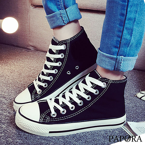 PAPORA 基本款高筒百搭板鞋帆布休閒布鞋(偏小一碼)KS26