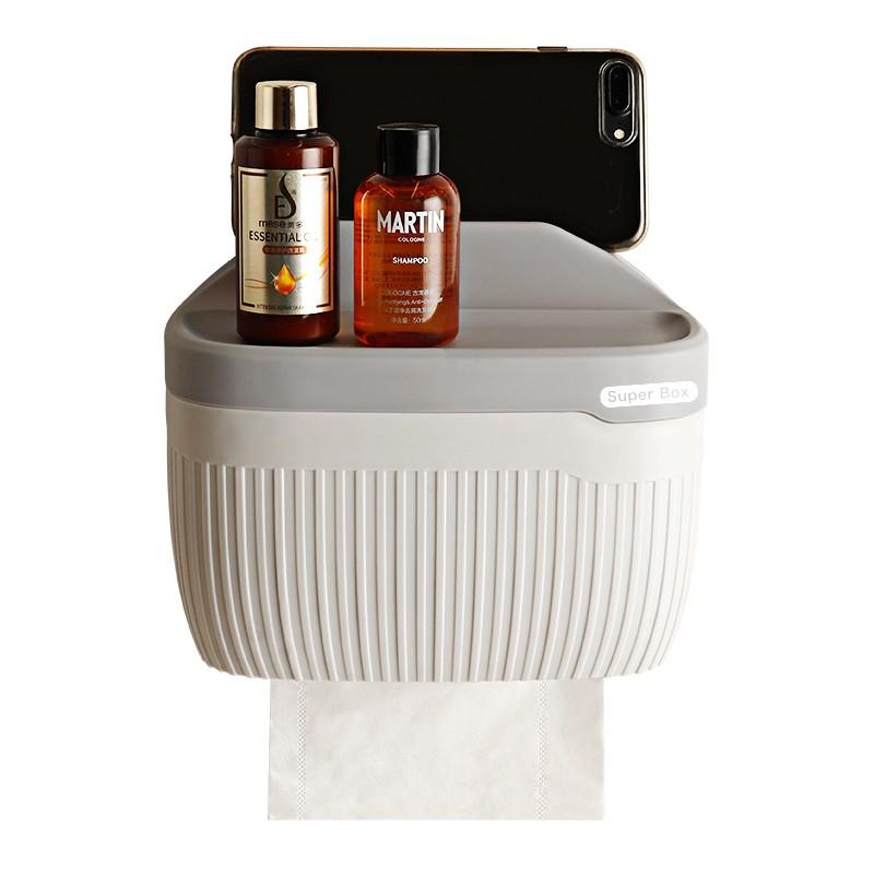 高檔衛生間紙巾盒免打孔廁所防水抽紙盒捲紙筒壁掛式衛生紙置物架 環保置物架