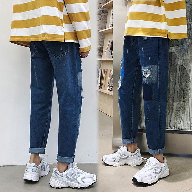 FOFU-牛仔褲韓版港風寬鬆復古個性直筒破洞牛仔褲【08B-G0860】