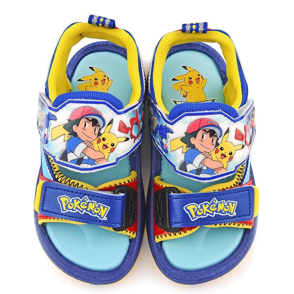 鞋子部落 神奇寶貝(寶可夢)雙黏扣涼鞋 中童 pa3566 藍