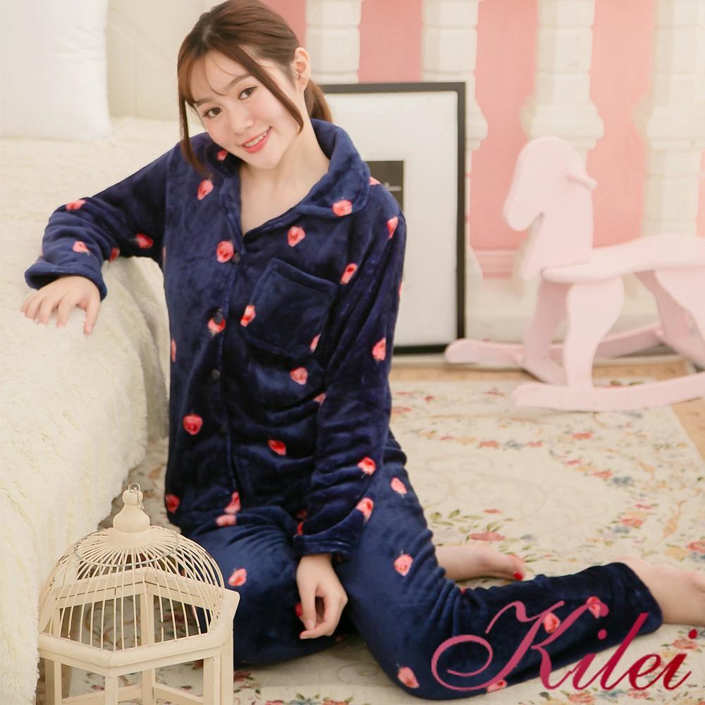 Kilei 草莓款開釦式水貂絨二件式長袖睡衣組XA3841(個性深藍)全尺碼 廠商直送 現貨