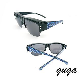 【GUGA】|半框款|宇宙圖案鏡腳電鍍鏡片偏光掛套式太陽眼鏡墨鏡-深灰鏡片(J1319-1-H5)