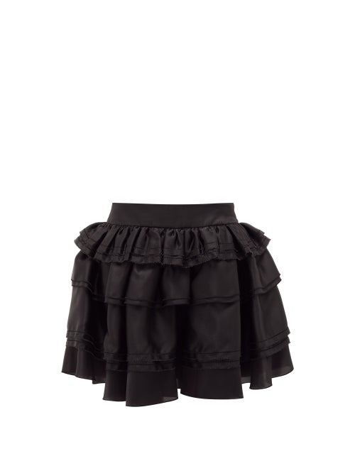 Alexandre Vauthier - Tiered Satin-organza Skirt - Womens - Black