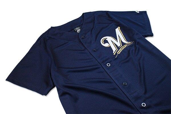 【毒】MLB MIL 密爾瓦基釀酒人 經典款 LOGO 藍色 棒球球衣