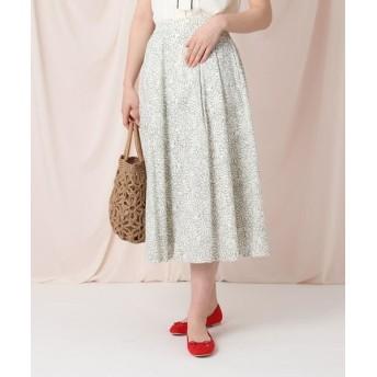 Couture Brooch/クチュールブローチ 【WEB限定サイズ(LL)あり/洗える】ガーベラデイジープリントミモレ丈スカート オフホワイト(103) 42(LL)