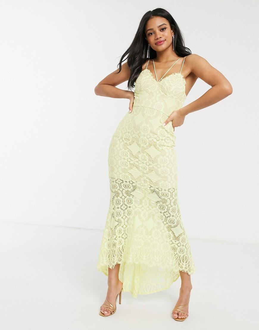 Love Triangle lace fishtail maxi dress in lemon-Yellow