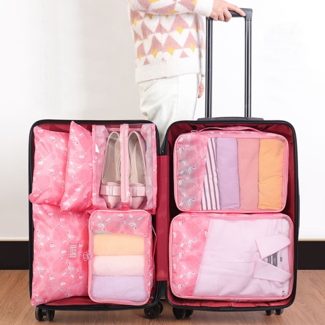 《WEEKEIGHT》華麗繽紛耐用防潑水旅行衣物收納袋7件套