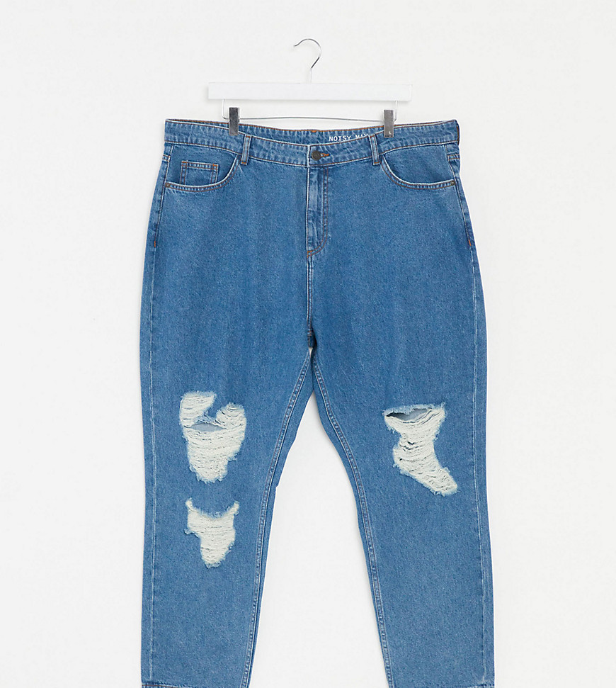Noisy May Curve destroyed mom jeans in mid blue wash-Black