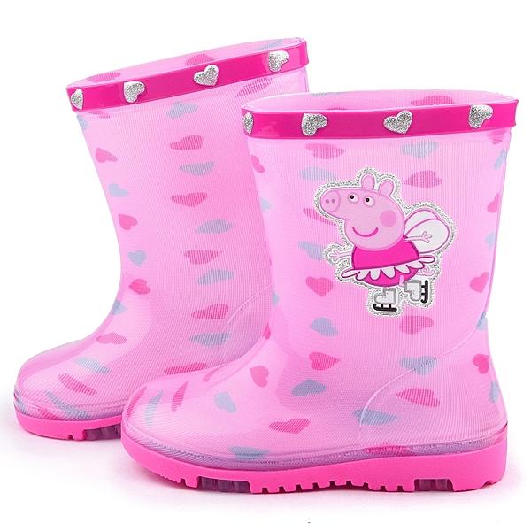 童鞋城堡-粉紅豬小妹 中童 愛心塗鴉雨鞋PG8544-粉