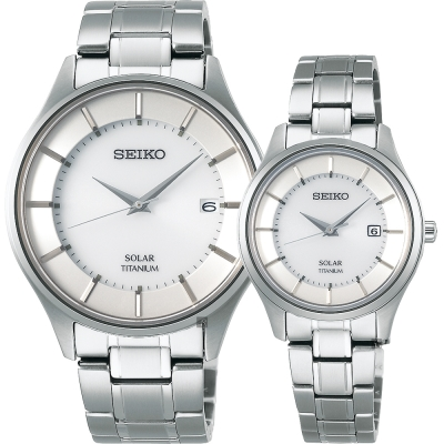 SEIKO  SMART鈦金屬對錶 SBPX101J + STPX041J