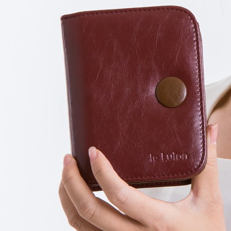 le lufon 油蠟皮革釦式皮夾/中夾/零錢包