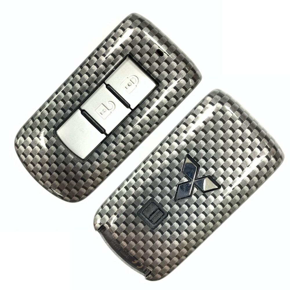 日牌 mitsubishi三菱 outlander fortis汽車鑰匙殼 智慧鑰匙套(碳纖維黑)