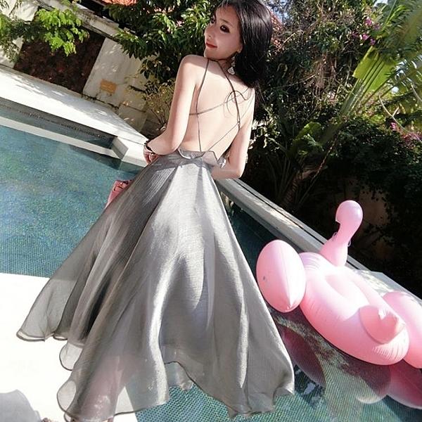 細肩帶洋裝 泰國海邊度假中長款洋裝性感交叉吊帶小心機漏背荷葉邊沙灘裙 萬寶屋