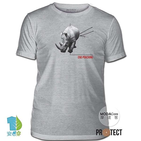 摩達客-(預購)美國The Mountain保育系列 拒捕犀牛 灰色修身短袖T恤 柔軟舒適高級混紡
