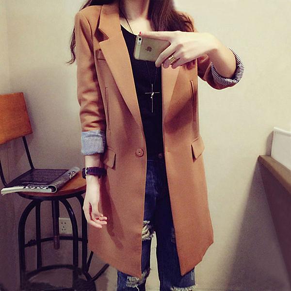 外套 韓版顯瘦長版西裝風衣外套【C2715】☆雙兒網☆