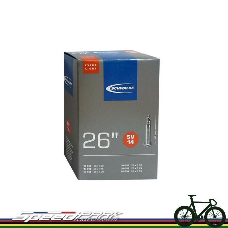"""速度公園schwalbe 26"""" 美式氣嘴 輕量內胎 sv14 盒裝 氣嘴長度 40mm 內胎"""