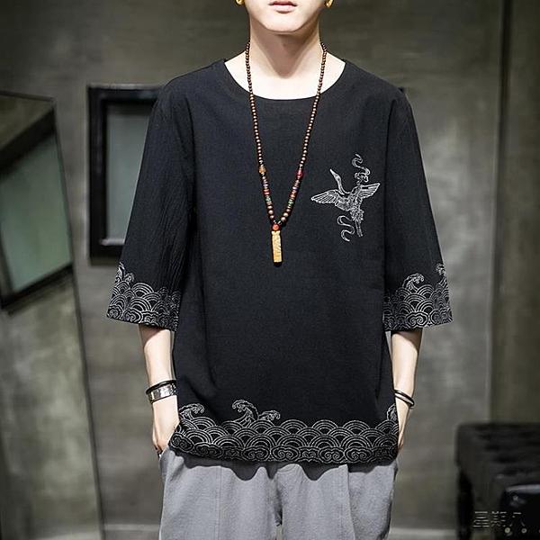 居士服 漢服短袖夏季新款五分袖仙鶴刺繡t恤中式唐裝居士服中國風男裝