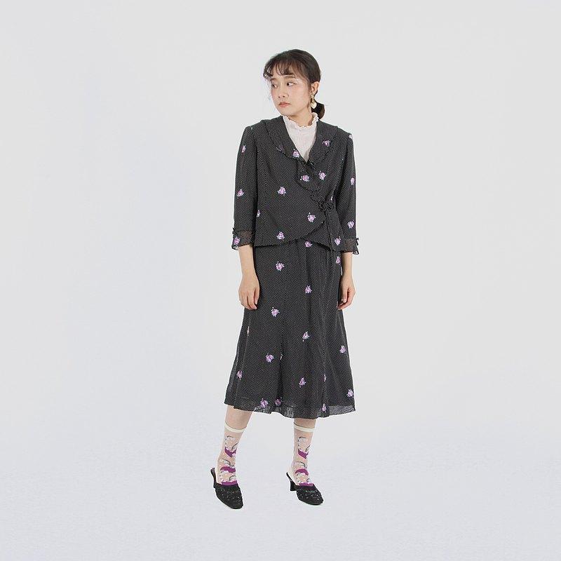 【蛋植物古著】極光花束刺繡裙式古著套裝