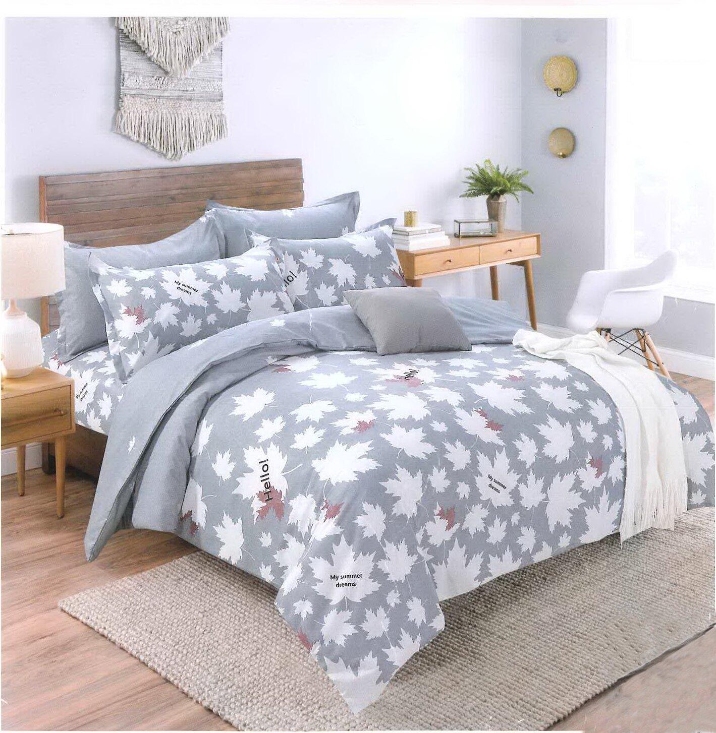 【名流寢飾家居館】葉葉相隨 超細纖維棉.單人三件鋪棉床包組兩用舖棉被套全套