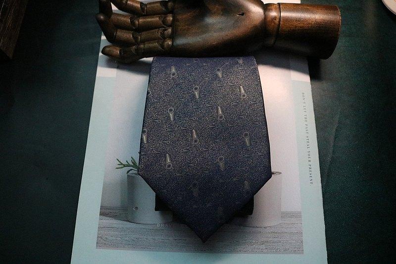 藍色圓錐體印花領帶真絲休閒百搭necktie