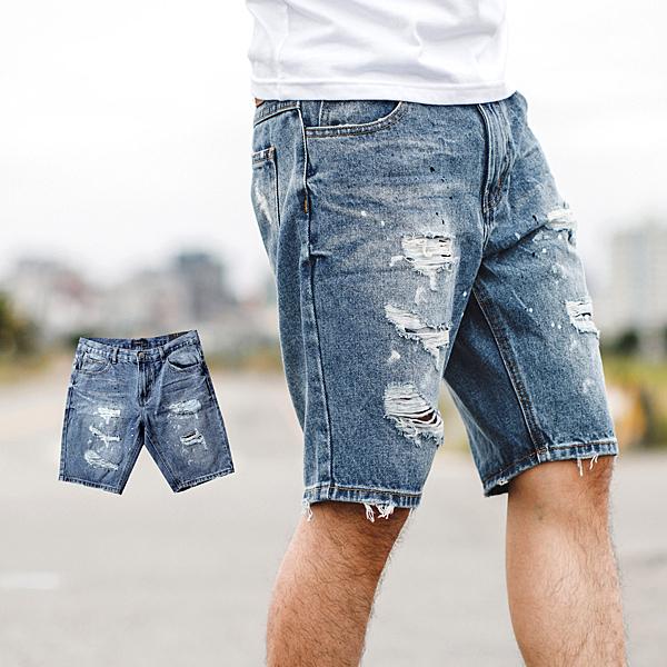 短褲 韓國製油漆噴點刷破抽鬚牛仔短褲【NB0787J】