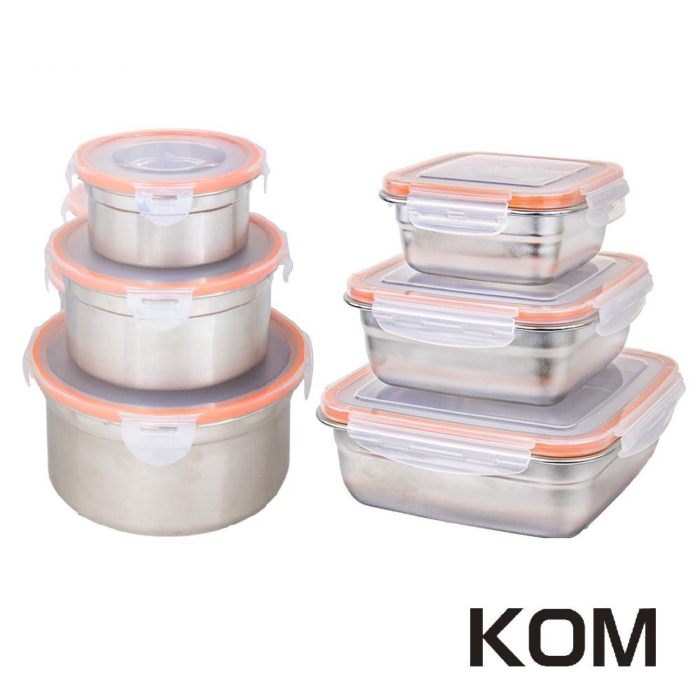 【KOM】日式不鏽鋼保鮮野餐盒三件組(方型/圓形)《屋外生活》烤肉 露營 野炊