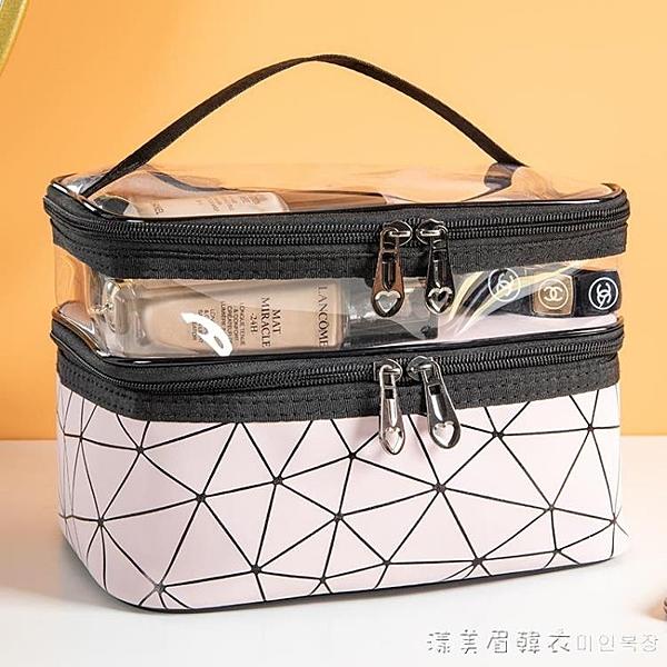 網紅化妝包女ins風超火小號便攜簡約洗漱包盒大容量旅行化妝品袋 漾美眉韓衣