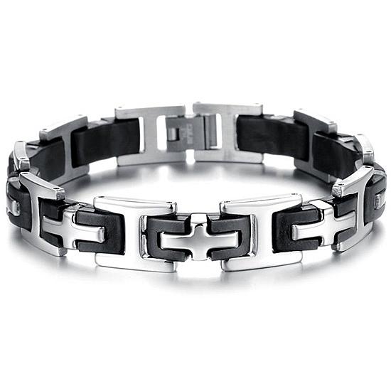 《QBOX 》FASHION 飾品【B20N889】 精緻個性復古經典十字架環扣鈦鋼手鍊/手環