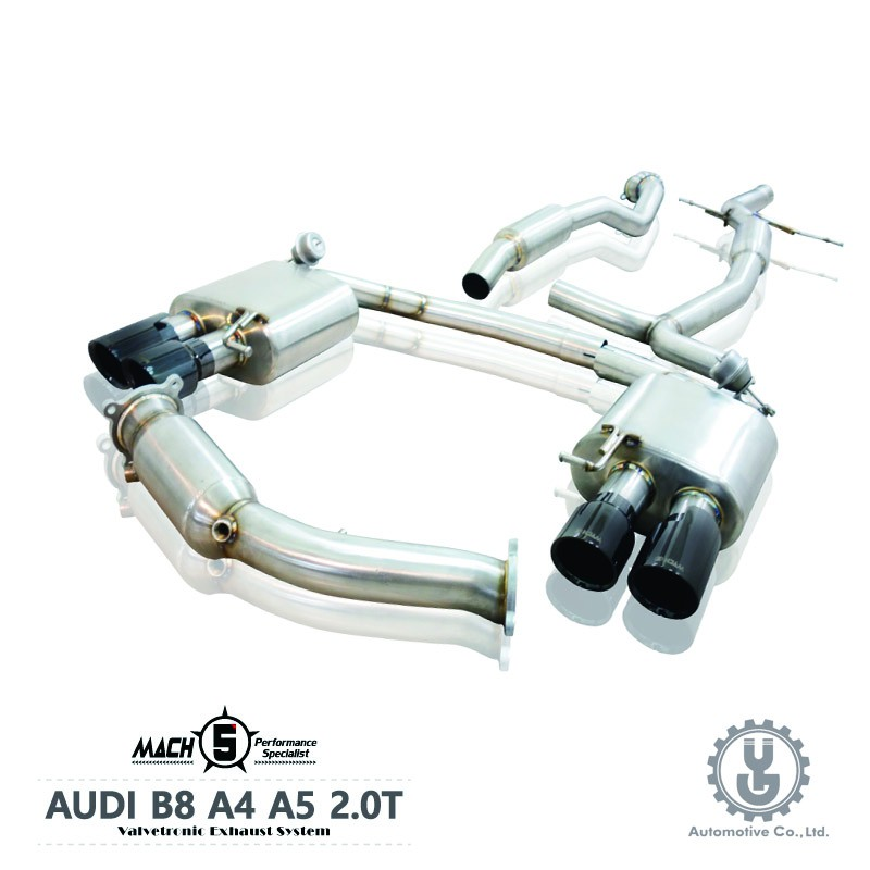 MACH5 高流量帶三元催化頭段 當派 排氣管 AUDI B8 A4 2.0T底盤系統【YGAUTO】