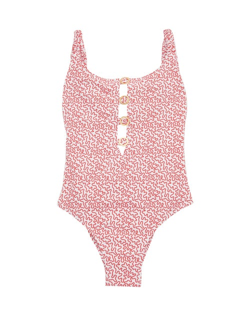 Fisch - Choisy Abstract-print Swimsuit - Womens - Red Print