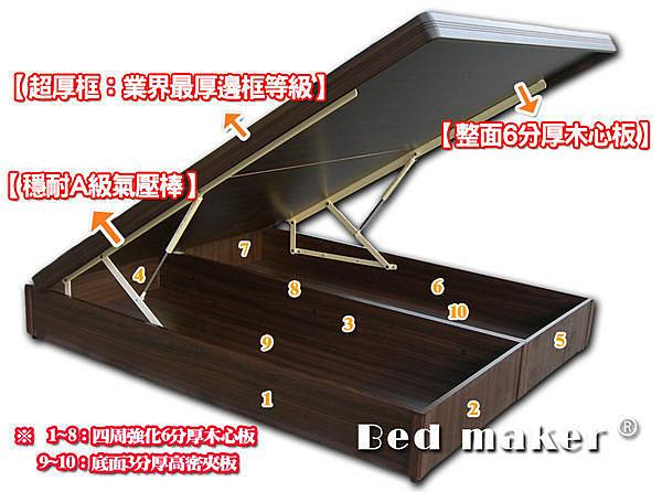 【班尼斯國際名床】6*7尺雙人加大加長厚框六分板掀床(訂做款無退換貨)
