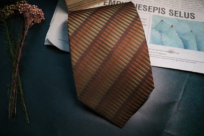 咖啡色細條紋領帶真絲紳士商務百搭necktie