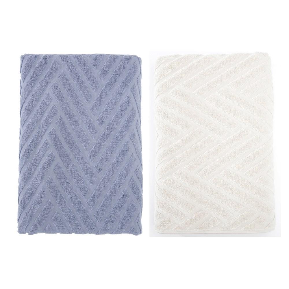 葡萄牙純棉浴巾70x140-斜角藍x1+斜角米x1