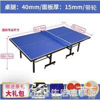 帶輪可行動式比賽專用乒乓球臺家用可摺疊式標準室內乒乓球桌案子