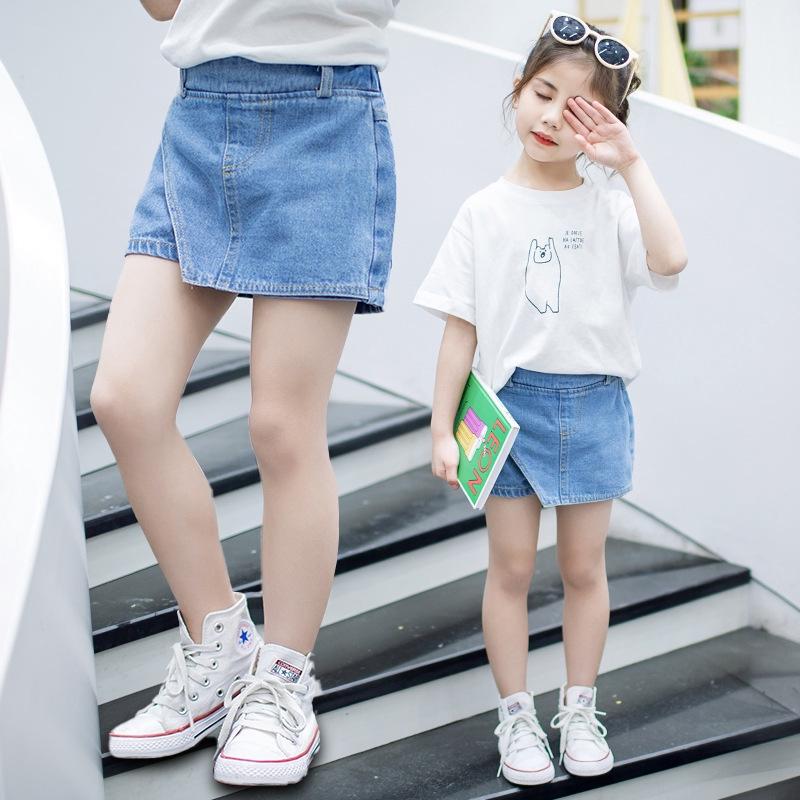女童牛仔短褲夏裝童裝中小童兒童淺色裙褲修身夏季褲子小女孩百搭