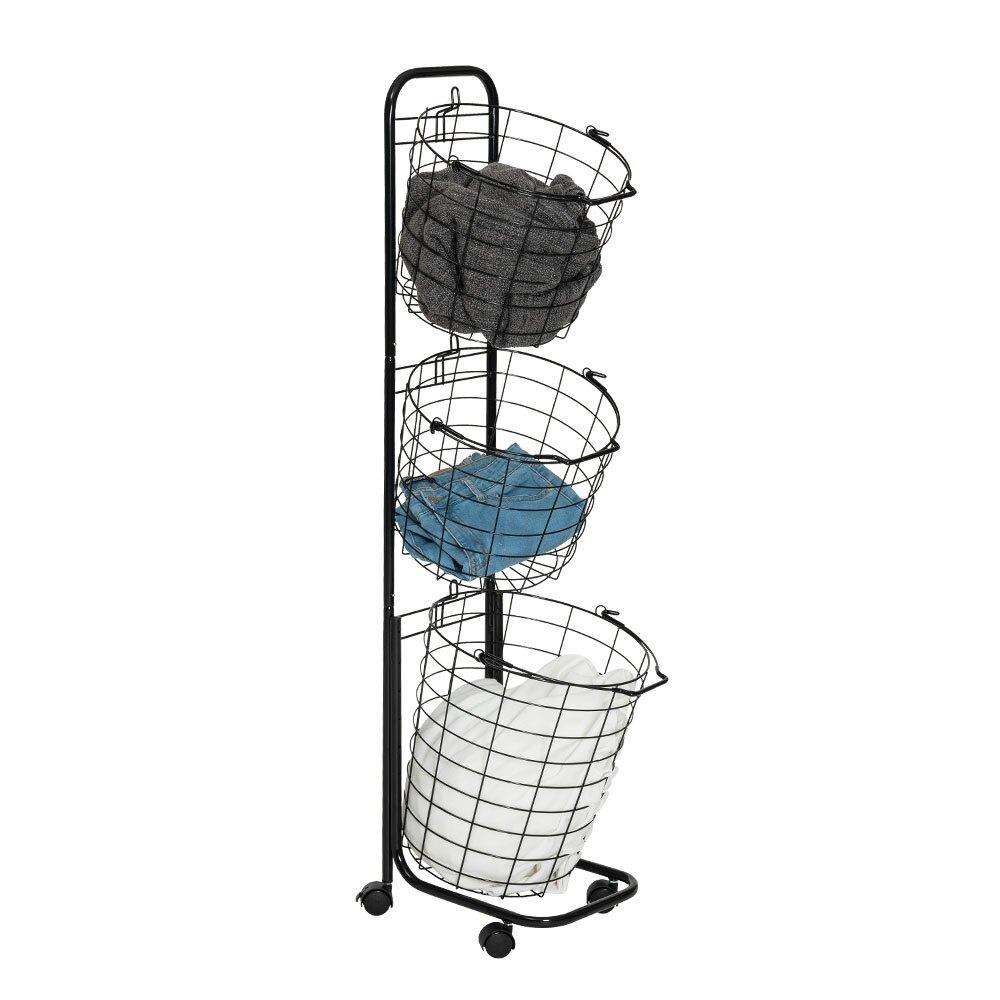 三籃收納車 推車 洗衣籃附煞車輪設計 日用品收納 雜物收納 衣物收納 垃圾分類筒 黑白兩色【J020】