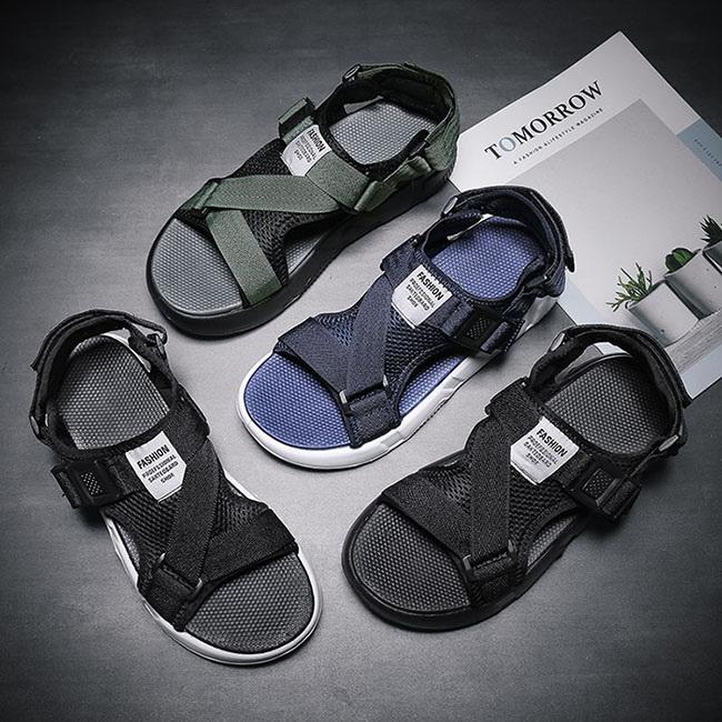 FOFU-涼鞋舒適百搭網面平底透氣魔術貼涼鞋【08B-S0531】