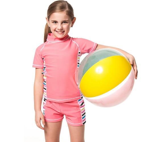 泡湯SPA女童二件式泳裝附泳帽B80501