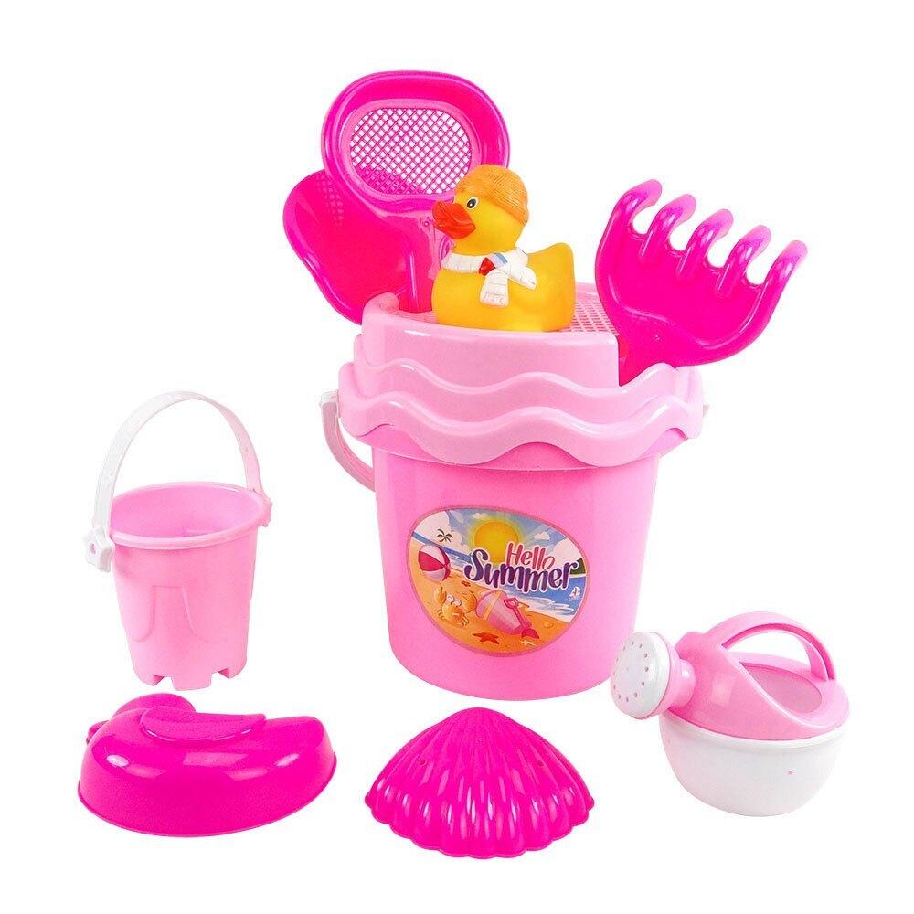 8件式粉紅水桶玩沙工具組(沙灘組)【888便利購】