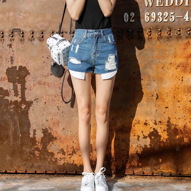 FOFU-牛仔短褲韓版高腰褲學生毛邊破洞小熱褲牛仔短褲【0G-G1534】