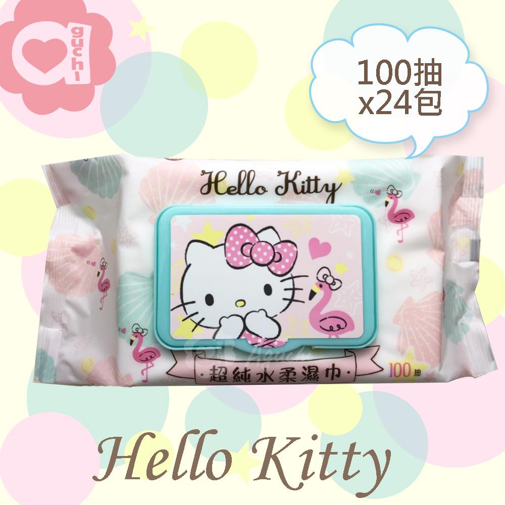 Hello Kitty 凱蒂貓超純水有蓋柔濕巾/濕紙巾(加蓋)100抽 X 24 包 (箱購) 特選柔軟水針布