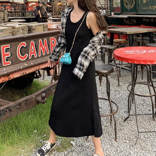 FOFU-針織背心長裙港風連身裙時尚氣質簡約針織背心長裙【0G-M1335】