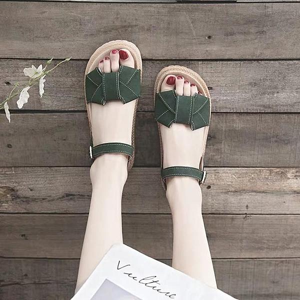 涼鞋女仙女風年新款夏季ins潮厚底網紅百搭夏天平底羅馬鞋子