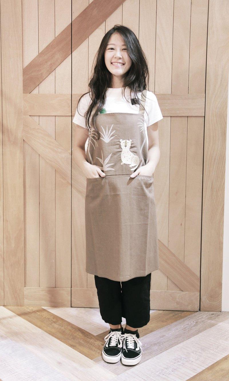 台灣雲豹刺繡圍裙-咖啡色