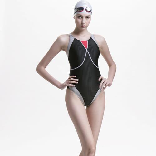 競賽連身三角泳裝加贈矽膠泳帽A97201-01