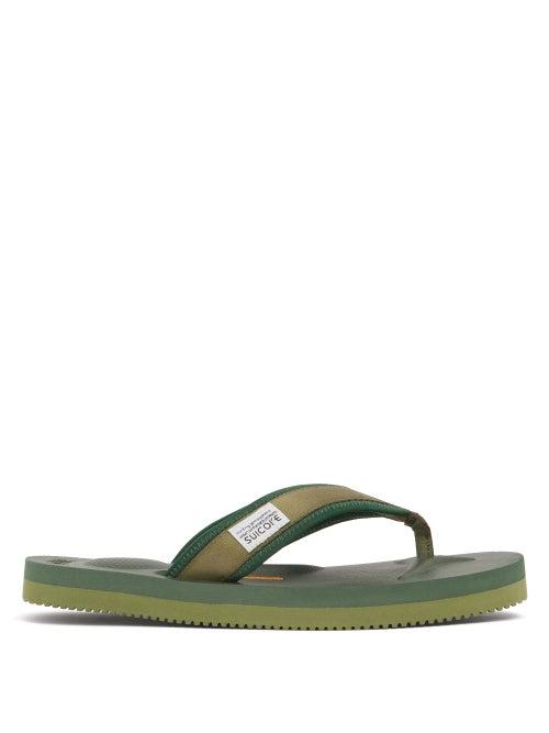 Suicoke - Tono Logo-tab Canvas Flip-flops - Womens - Green