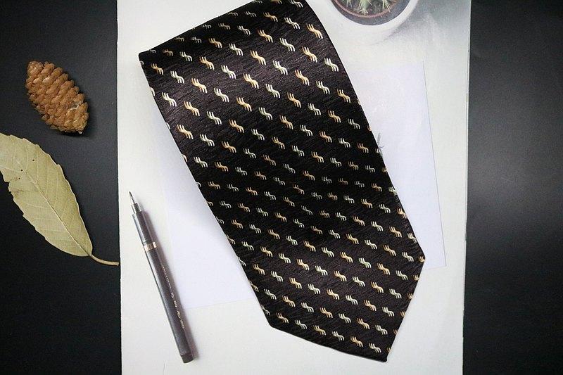 褐色老花复古领带时尚正装商务necktie
