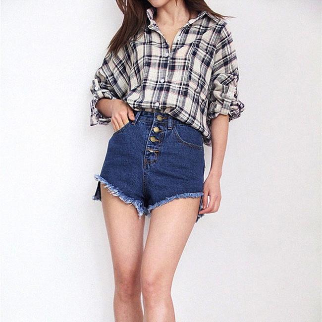 FOFU-牛仔短褲韓版寬鬆高腰牛仔褲顯瘦闊腿毛邊牛仔短褲【0G-G1533】