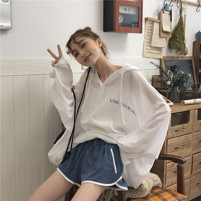 FOFU-連帽罩衫韓版寬鬆百搭運動風超級防曬連帽罩衫【08G-B2883】