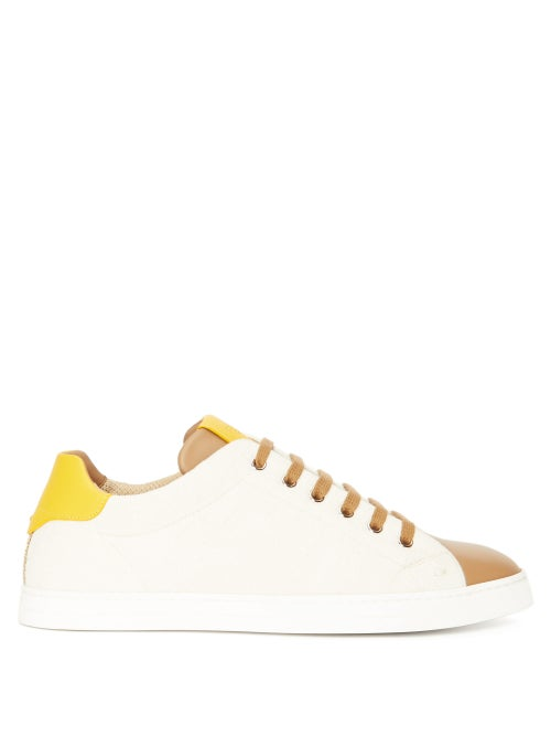 Fendi - Ff-jacquard Canvas And Leather Trainers - Mens - Beige Multi